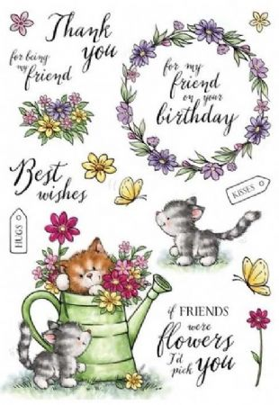 Cats In The Garden 16 Unmounted Clear Rubber Stamps From Wild Rose Studio